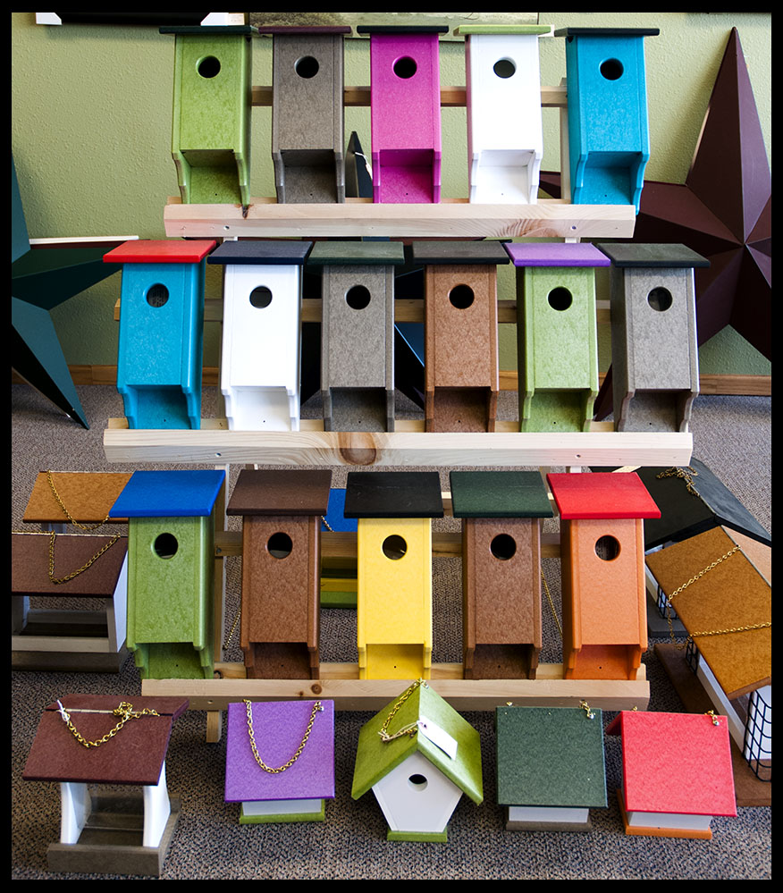 long lasting poly birdhouses in many colors