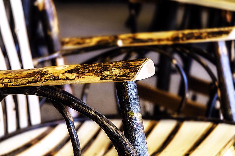 rustic wood chair detail